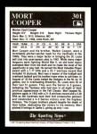 1991 Conlon #301   -  Mort Cooper Most Valuable Player Back Thumbnail