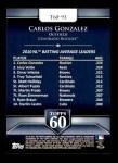 2011 Topps 60 #93 T-60 Carlos Gonzalez  Back Thumbnail