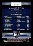 2011 Topps 60 #55 T-60 Mariano Rivera  Back Thumbnail