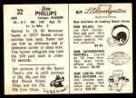 1959 Rams Bell Brand #32  Jim Phillips  Back Thumbnail