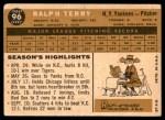 1960 Topps #96  Ralph Terry  Back Thumbnail