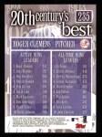 2000 Topps #235   -  Roger Clemens 20th Century's Best - Wins Leaders Back Thumbnail