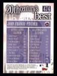 2000 Topps #474   -  John Franco 20th Century's Best Saves Leaders Back Thumbnail
