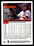 2000 Topps #66  David Justice  Back Thumbnail
