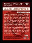 2000 Topps #227  American League Championship Series - Bernie Williams  Back Thumbnail