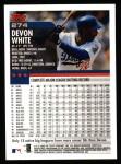 2000 Topps #274  Devon White  Back Thumbnail