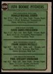 1974 Topps #599 SM  -  Dave Freisleben / Ron Diorio / Frank Riccelli / Greg Shanahan Rookie Pitchers   Back Thumbnail