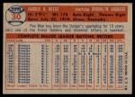 1957 Topps #30  Pee Wee Reese  Back Thumbnail