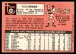1969 Topps #568  Cecil Upshaw  Back Thumbnail