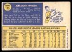 1970 Topps #115  Alex Johnson  Back Thumbnail