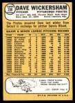 1968 Topps #288  Dave Wickersham  Back Thumbnail