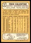 1968 Topps #248  Fred Valentine  Back Thumbnail