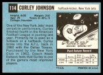 1964 Topps #114  Curley Johnson  Back Thumbnail