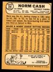 1968 Topps #256  Norm Cash  Back Thumbnail