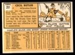1963 Topps #201  Cecil Butler  Back Thumbnail