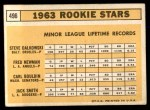 1963 Topps #496   -  Steve Dalkowski / Jack Smith / Carl Bouldin / Fred Newman Rookie Stars   Back Thumbnail
