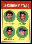 1963 Topps #496   -  Steve Dalkowski / Jack Smith / Carl Bouldin / Fred Newman Rookie Stars   Front Thumbnail