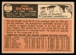 1966 Topps #142  Don Dennis  Back Thumbnail