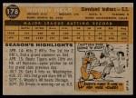 1960 Topps #178  Woodie Held  Back Thumbnail