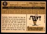 1960 Topps #91  Bennie Daniels  Back Thumbnail