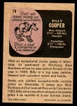 1971 O-Pee-Chee CFL #78  Billy Cooper  Back Thumbnail