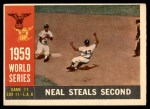 1960 Topps #385   -  Charlie Neal 1959 World Series - Game #1 - Neal Steals Second Front Thumbnail