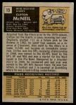 1971 Topps #15  Clifton McNeil  Back Thumbnail