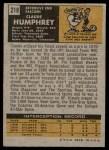 1971 Topps #218  Claude Humphrey  Back Thumbnail