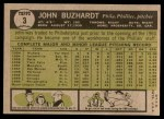 1961 Topps #3  John Buzhardt  Back Thumbnail