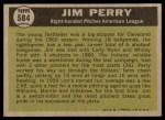 1961 Topps #584   -  Jim Perry All-Star Back Thumbnail