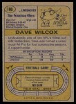 1974 Topps #190  Dave Wilcox  Back Thumbnail