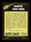 1964 Topps / Bubbles Inc Outer Limits #12   Monster From Venus Back Thumbnail