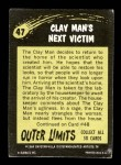 1964 Topps / Bubbles Inc Outer Limits #47   The Clay Man's Next Victim  Back Thumbnail