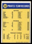 1970 Topps #608   Pirates Team Back Thumbnail