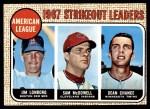 1968 Topps #12   -  Dean Chance / Jim Lonborg / Sam McDowell AL Strikeout Leaders Front Thumbnail
