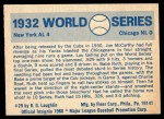 1970 Fleer World Series #29   -  Babe Ruth  / Lou Gehrig 1932 Yankees vs. Cubs   Back Thumbnail