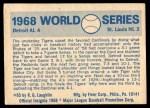 1970 Fleer World Series #65   1968 Tigers vs. Cardinals Back Thumbnail