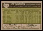 1961 Topps #511  Joe Morgan  Back Thumbnail