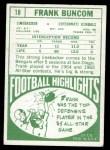 1968 Topps #18  Frank Buncom  Back Thumbnail