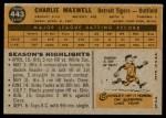 1960 Topps #443  Charlie Maxwell  Back Thumbnail