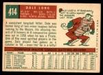 1959 Topps #414  Dale Long  Back Thumbnail