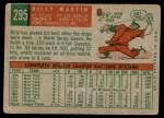 1959 Topps #295  Billy Martin  Back Thumbnail