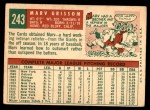 1959 Topps #243  Marv Grissom  Back Thumbnail