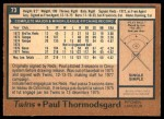 1978 O-Pee-Chee #73  Paul Thormodsgard  Back Thumbnail