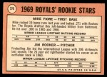 1969 Topps #376   -  Mike Fiore / Jim Rooker Royals Rookies Back Thumbnail