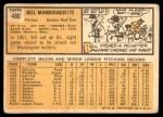 1963 Topps #480  Bill Monbouquette  Back Thumbnail