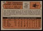 1972 Topps #486  John Lowenstein  Back Thumbnail