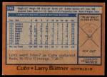 1978 Topps #346  Larry Biittner  Back Thumbnail