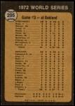 1973 Topps #205   -  Tony Perez / Darrel Chaney / Gene Tenace 1972 World Series - Game #3 - Reds Win Squeeker Back Thumbnail
