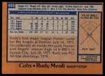 1978 Topps #489  Rudy Meoli  Back Thumbnail